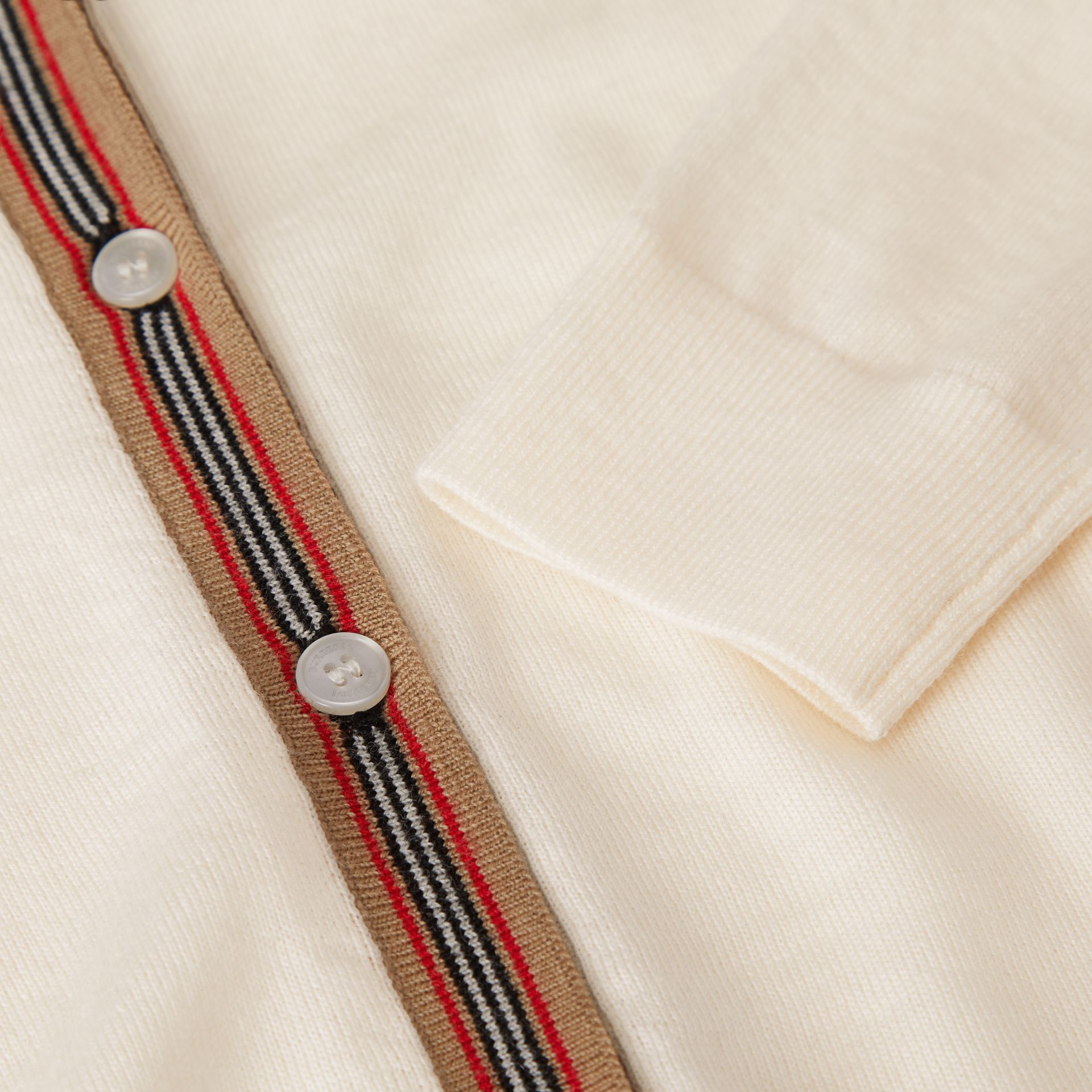 Icon Stripe Detail Merino Wool Two-piece Set in Ivory | Burberry - gallery image 1