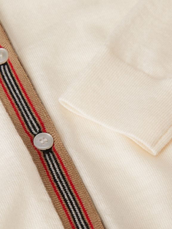 Icon Stripe Detail Merino Wool Two-piece Set in Ivory | Burberry United Kingdom - cell image 1