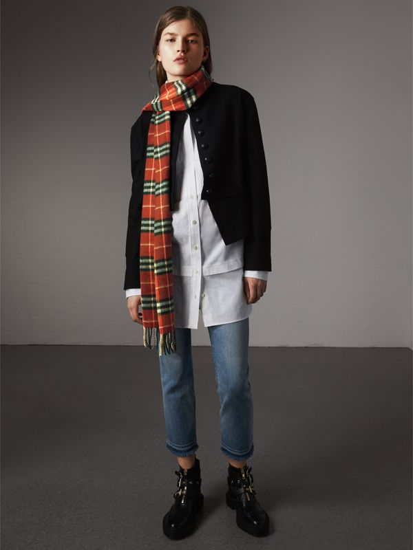 Check Cashmere Scarf in Orange Red | Burberry United States - cell image 2