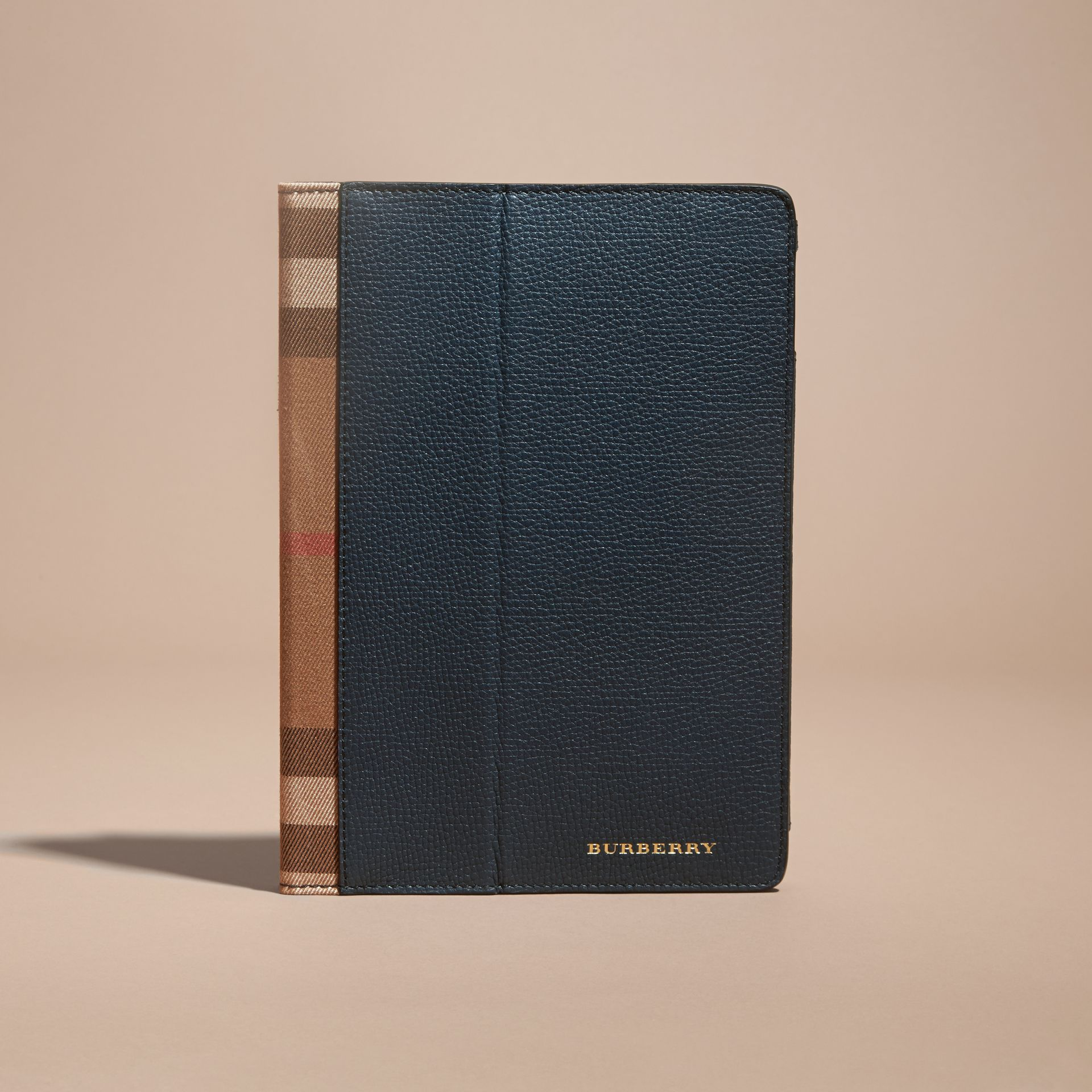 Storm blue Grainy Leather and House Check iPad Case Storm Blue - gallery image 5