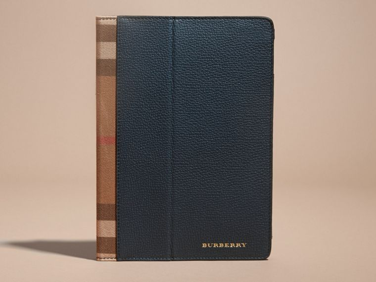 Storm blue Grainy Leather and House Check iPad Case Storm Blue - cell image 4