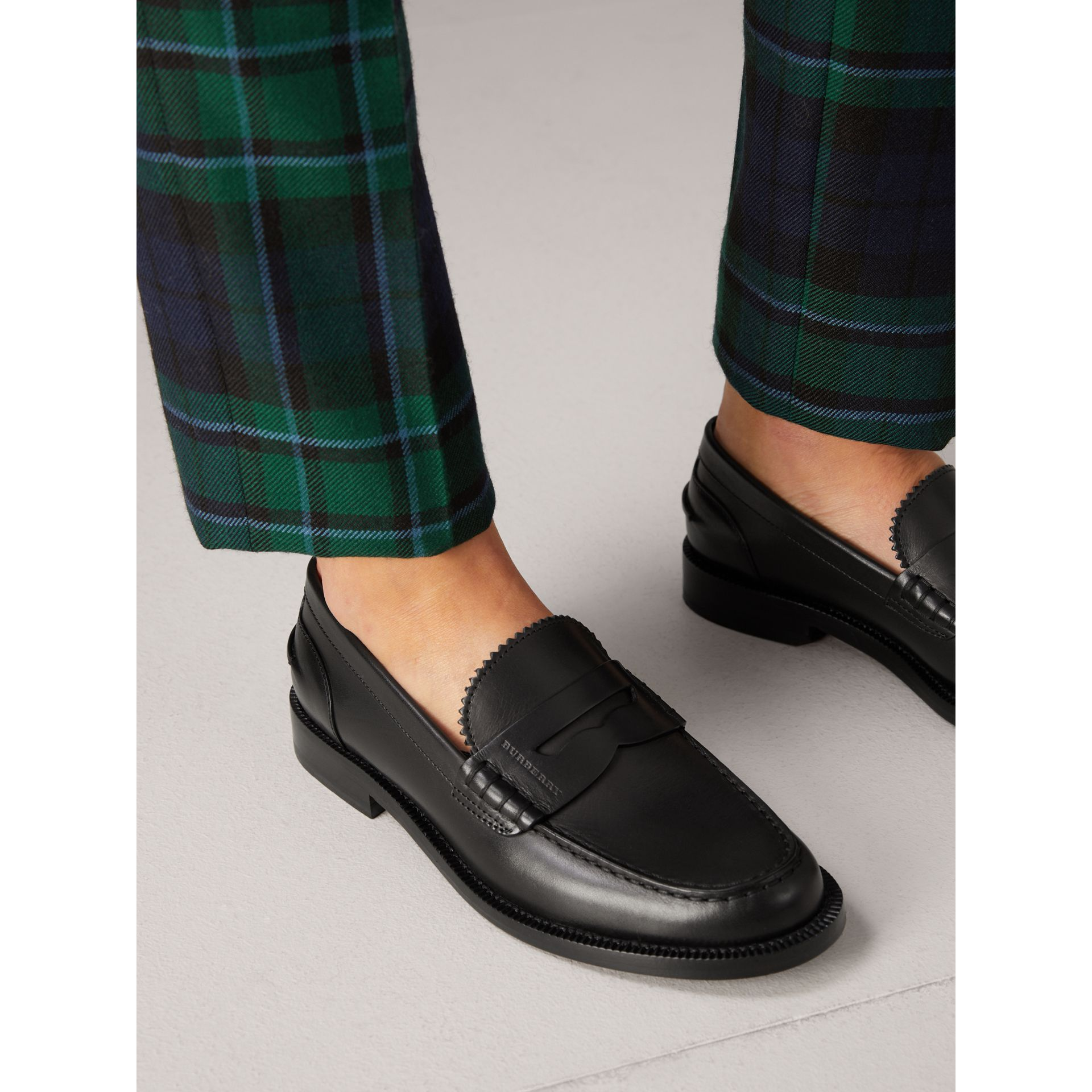 Leather Penny Loafers in Black - Women | Burberry United Kingdom - gallery image 2