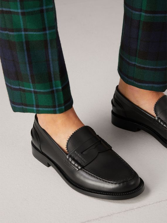 Leather Penny Loafers in Black - Women | Burberry United Kingdom - cell image 2