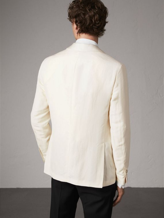 Modern Fit Shawl Lapel Linen Silk Evening Jacket in Off White - Men | Burberry - cell image 2