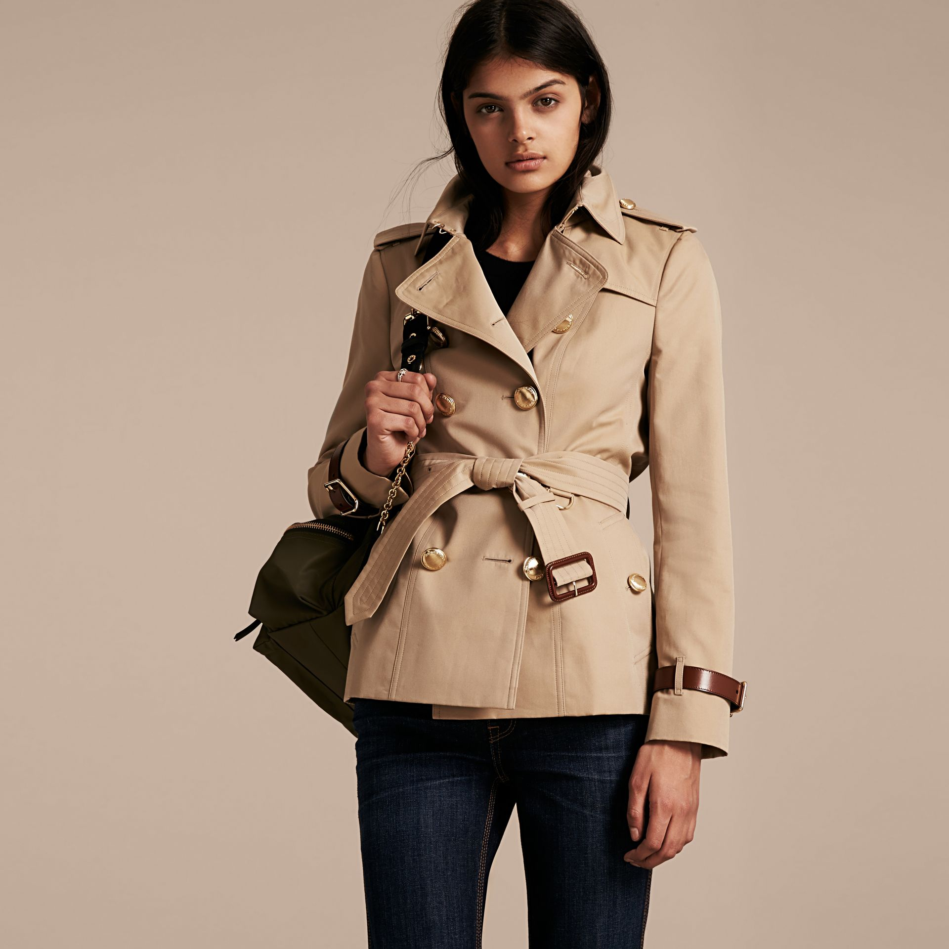 Honey Leather Detail Cotton Gabardine Trench Jacket - gallery image 1