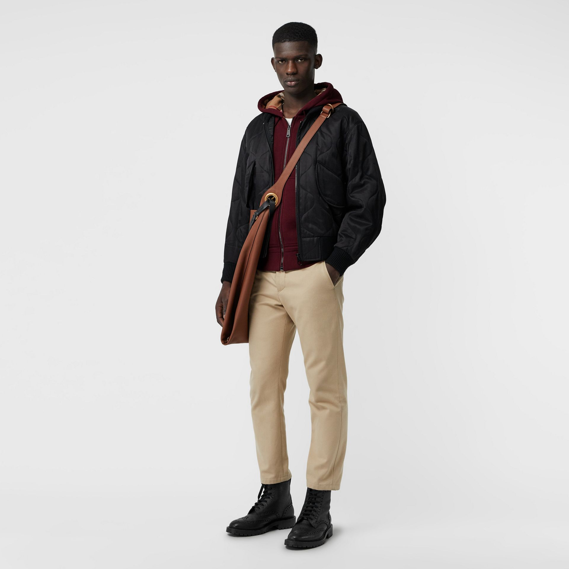 Check Detail Jersey Hooded Top in Dark Crimson - Men | Burberry - gallery image 0