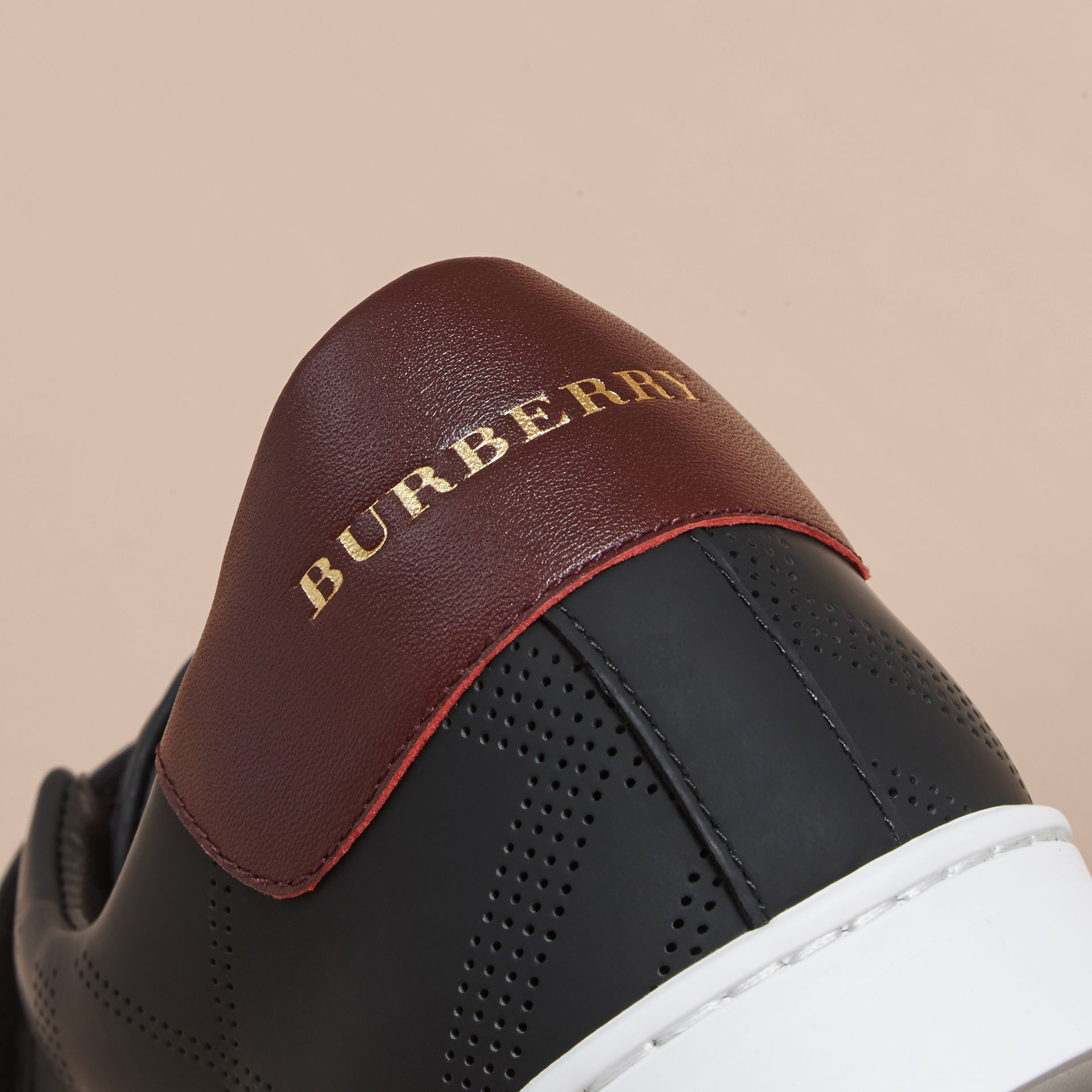 Black/deep claret melange Perforated Check Leather Trainers Black/deep Claret Melange - gallery image 2