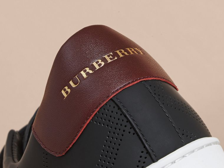 Perforated Check Leather Trainers in Black/deep Claret Melange - cell image 1