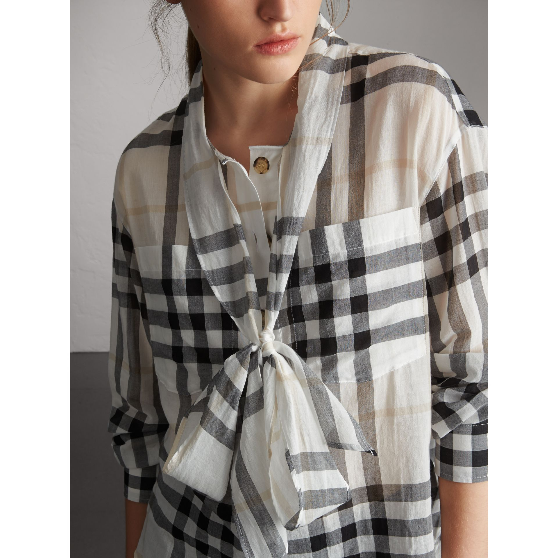 Check Tie Neck Cotton Shirt in White - Women | Burberry - gallery image 2