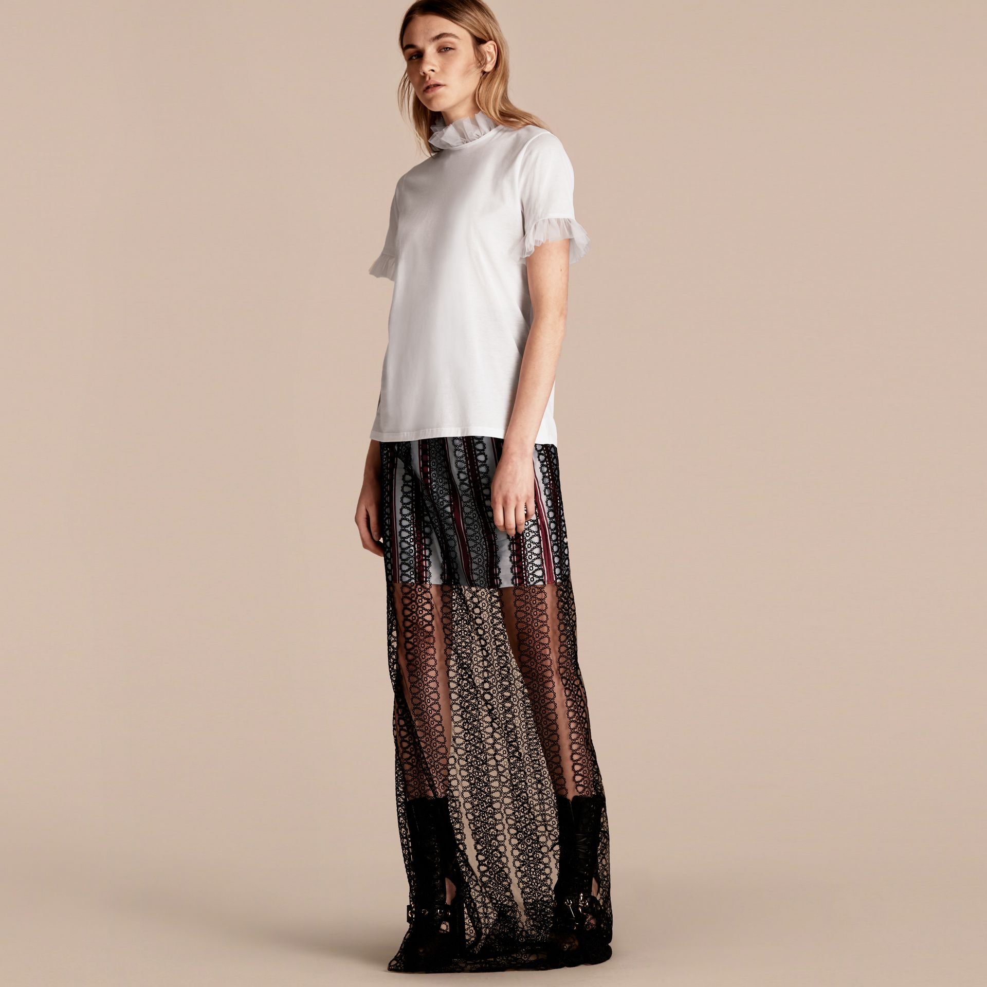 Cotton T-shirt with Tulle Ruffles - gallery image 1