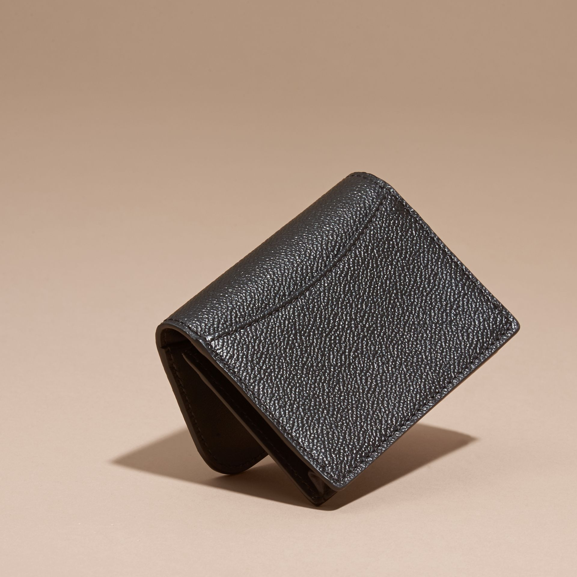 Grainy Leather Card Case Black - gallery image 4
