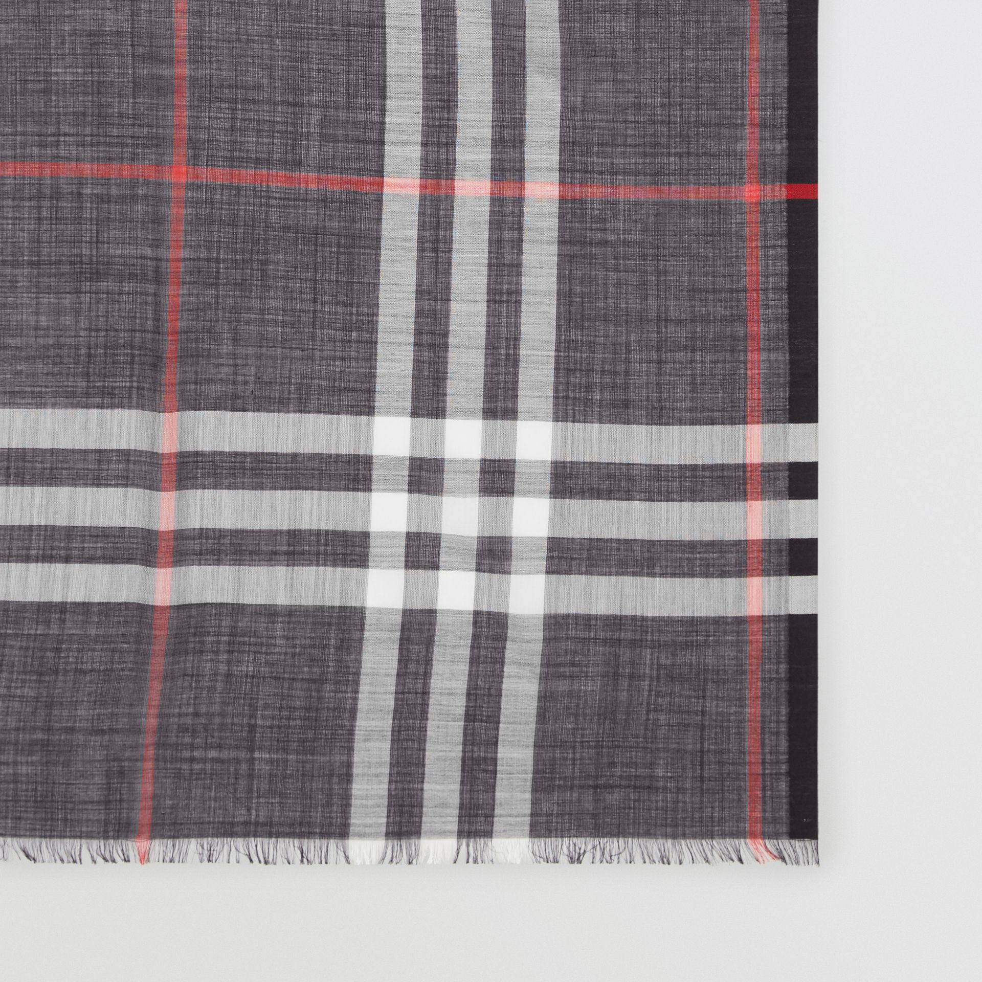 Lightweight Check Wool Silk Scarf in Navy | Burberry Canada - gallery image 1