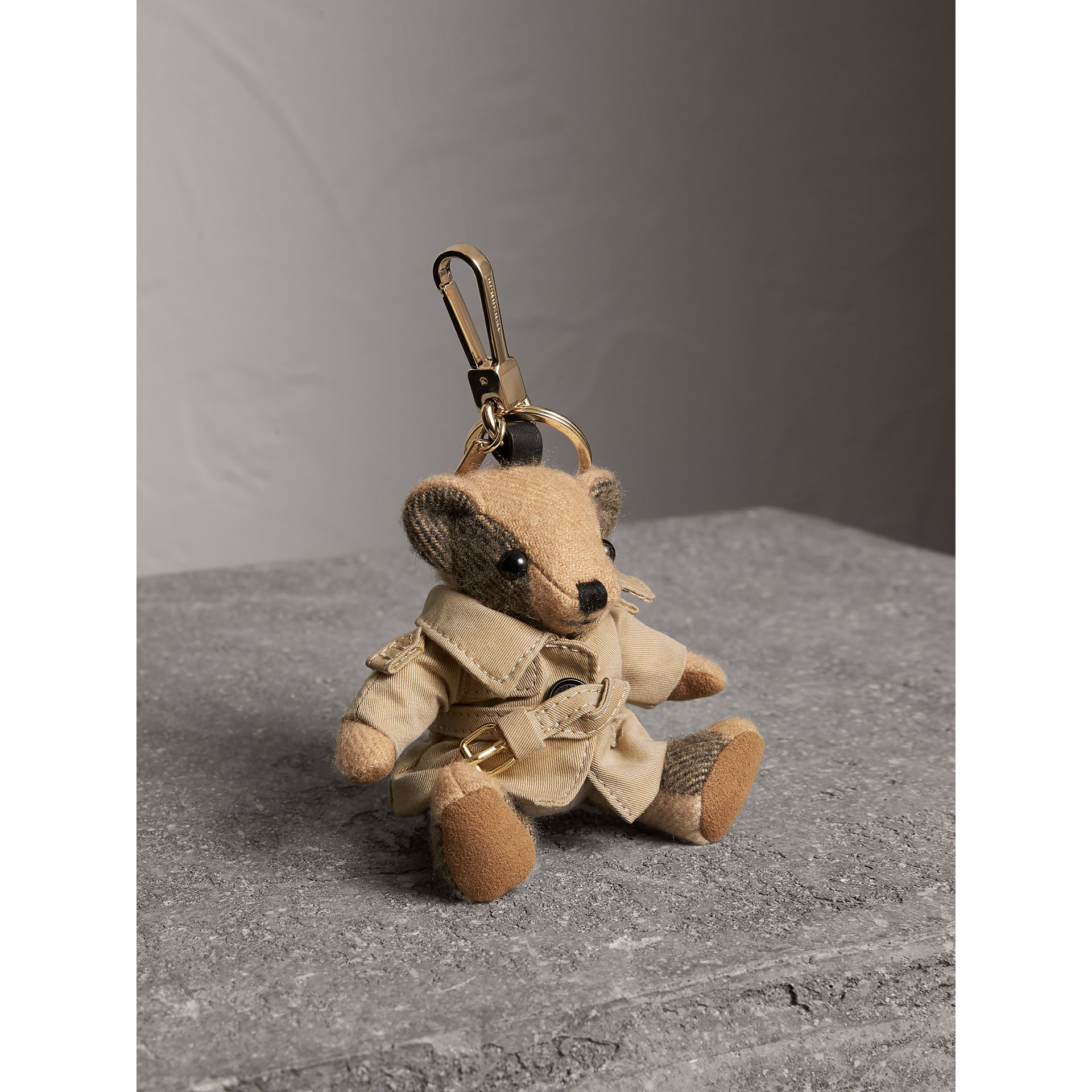 Thomas Bear Charm in Trench Coat in Camel | Burberry - gallery image 1