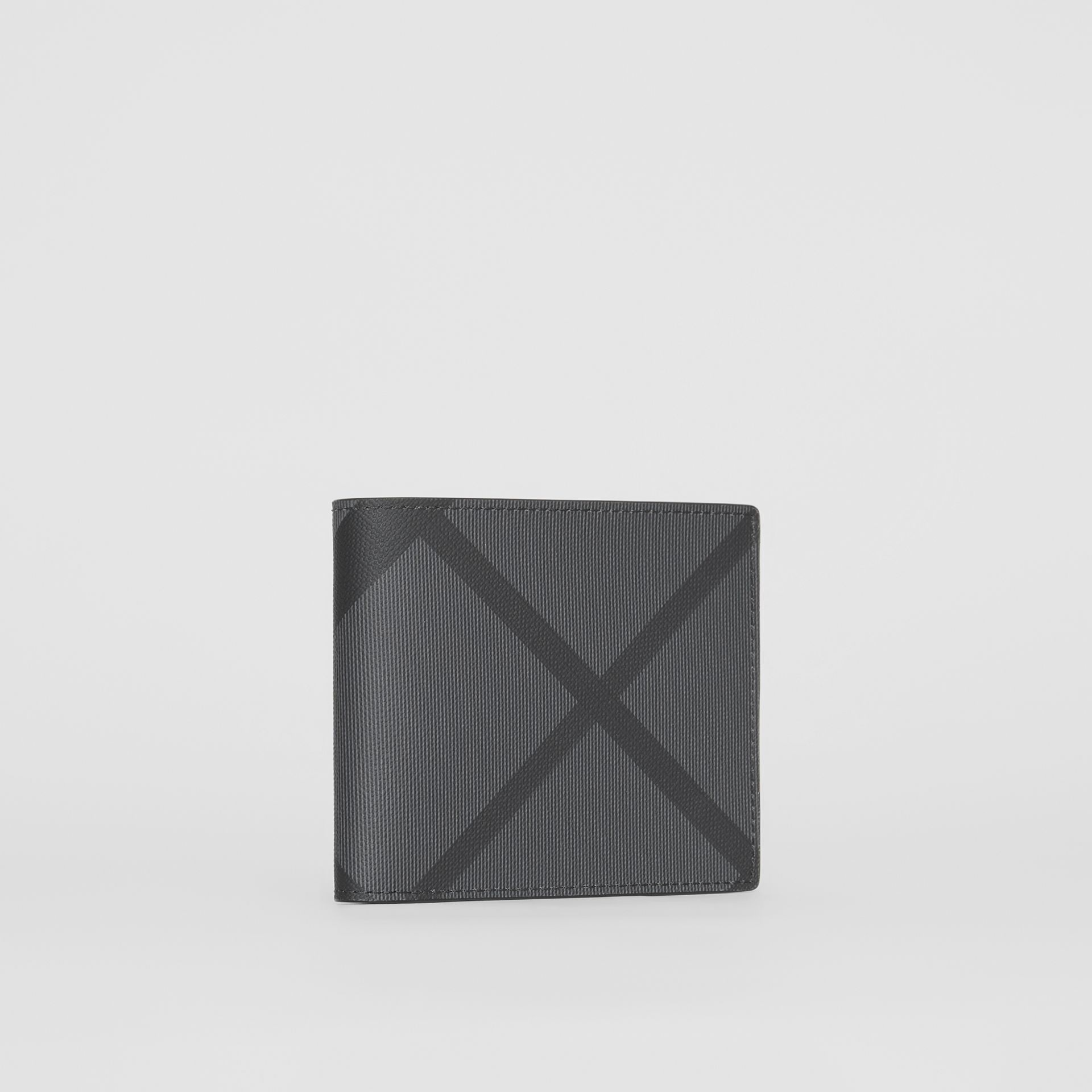 London Check International Bifold Coin Wallet in Charcoal/black - Men | Burberry Hong Kong - gallery image 3