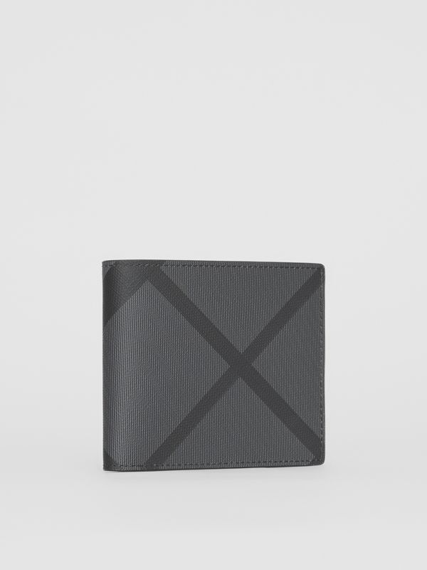 London Check International Bifold Coin Wallet in Charcoal/black - Men | Burberry Singapore - cell image 3