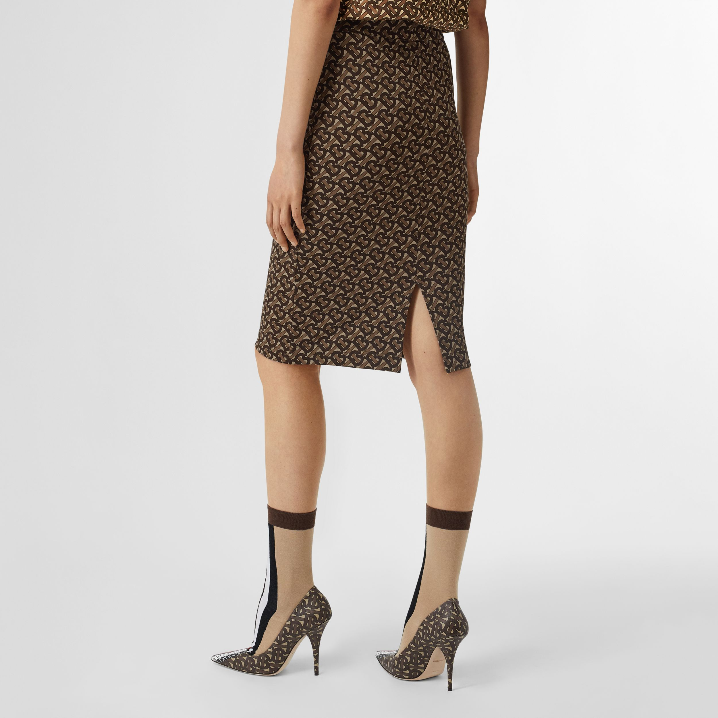 Monogram Stripe Print Stretch Jersey Pencil Skirt in Bridle Brown - Women | Burberry Singapore - 3