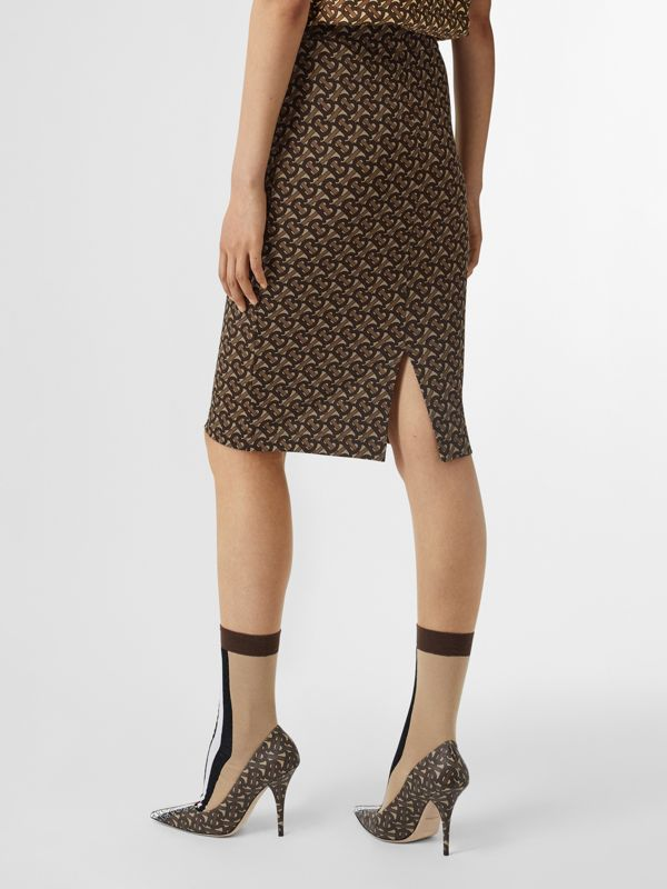 Monogram Stripe Print Stretch Jersey Pencil Skirt in Bridle Brown - Women | Burberry - cell image 2