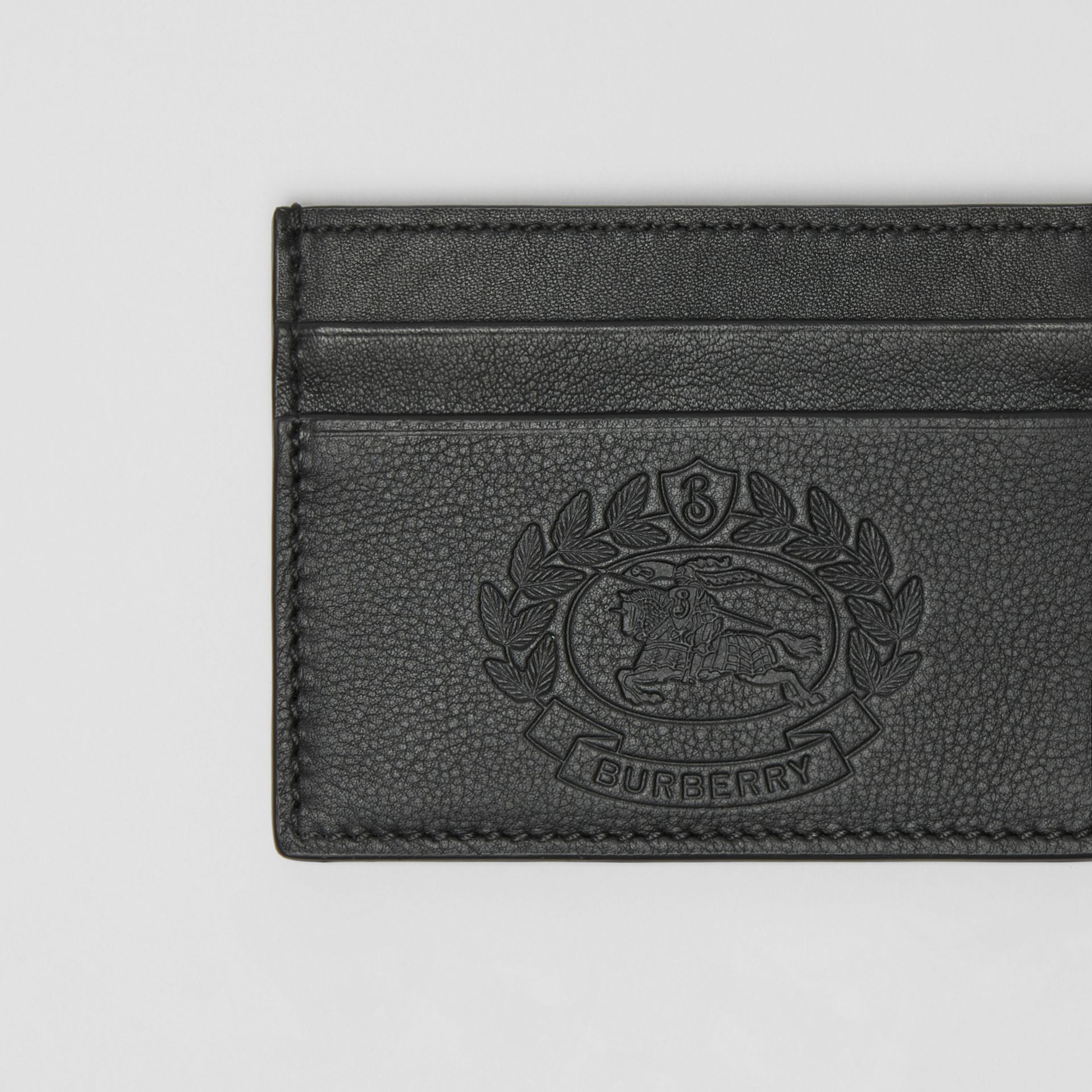 Embossed Crest Leather Card Case in Black | Burberry - gallery image 1