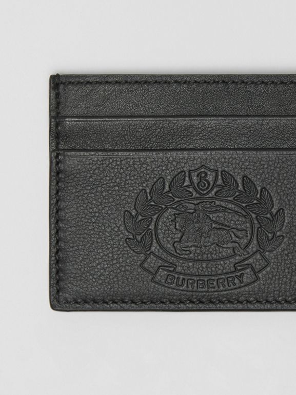 Embossed Crest Leather Card Case in Black - Men | Burberry - cell image 1