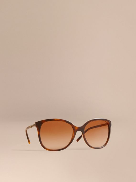 Check Detail Square Frame Sunglasses in Tortoiseshell