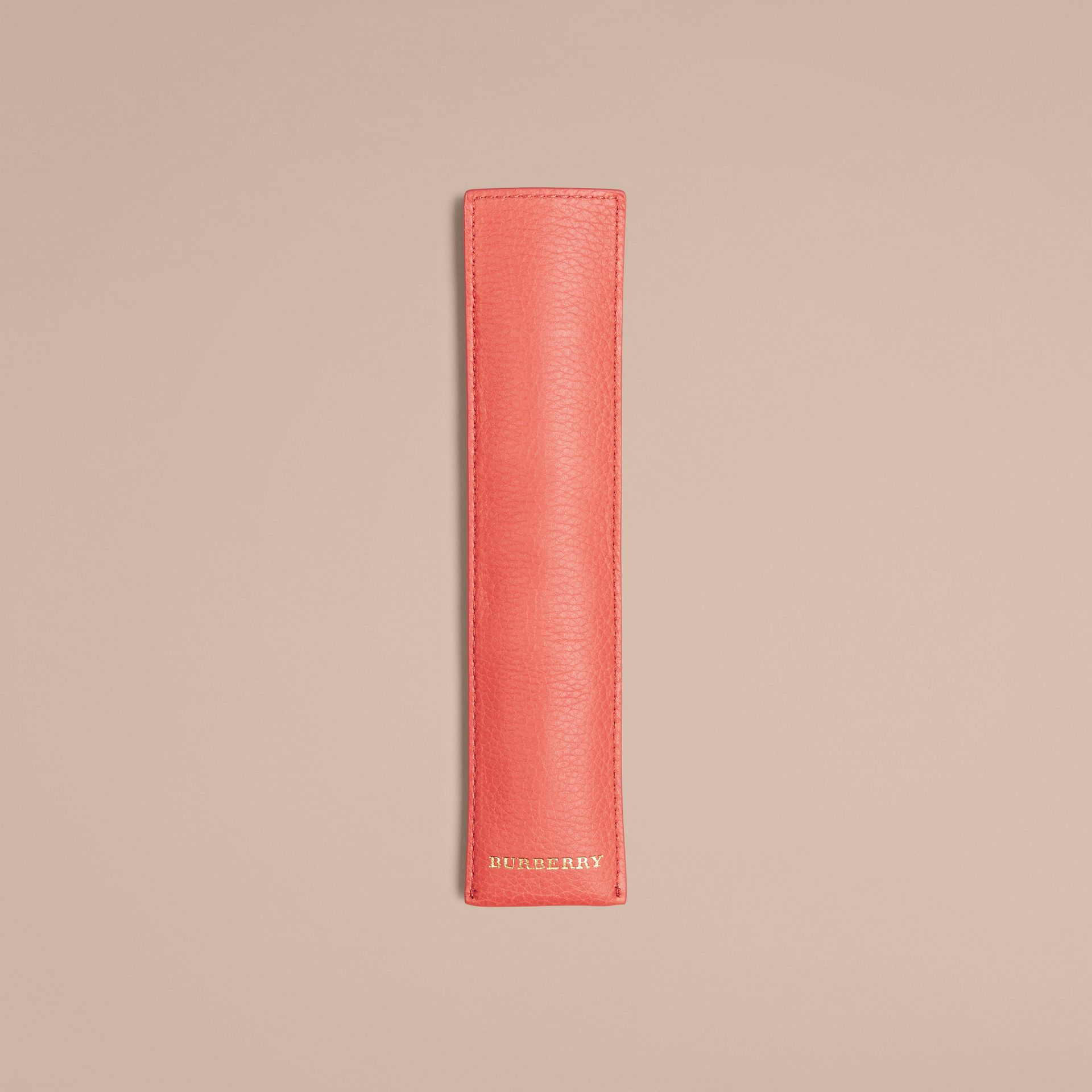 Grainy Leather Pencil Sleeve in Bright Peony | Burberry Canada - gallery image 4