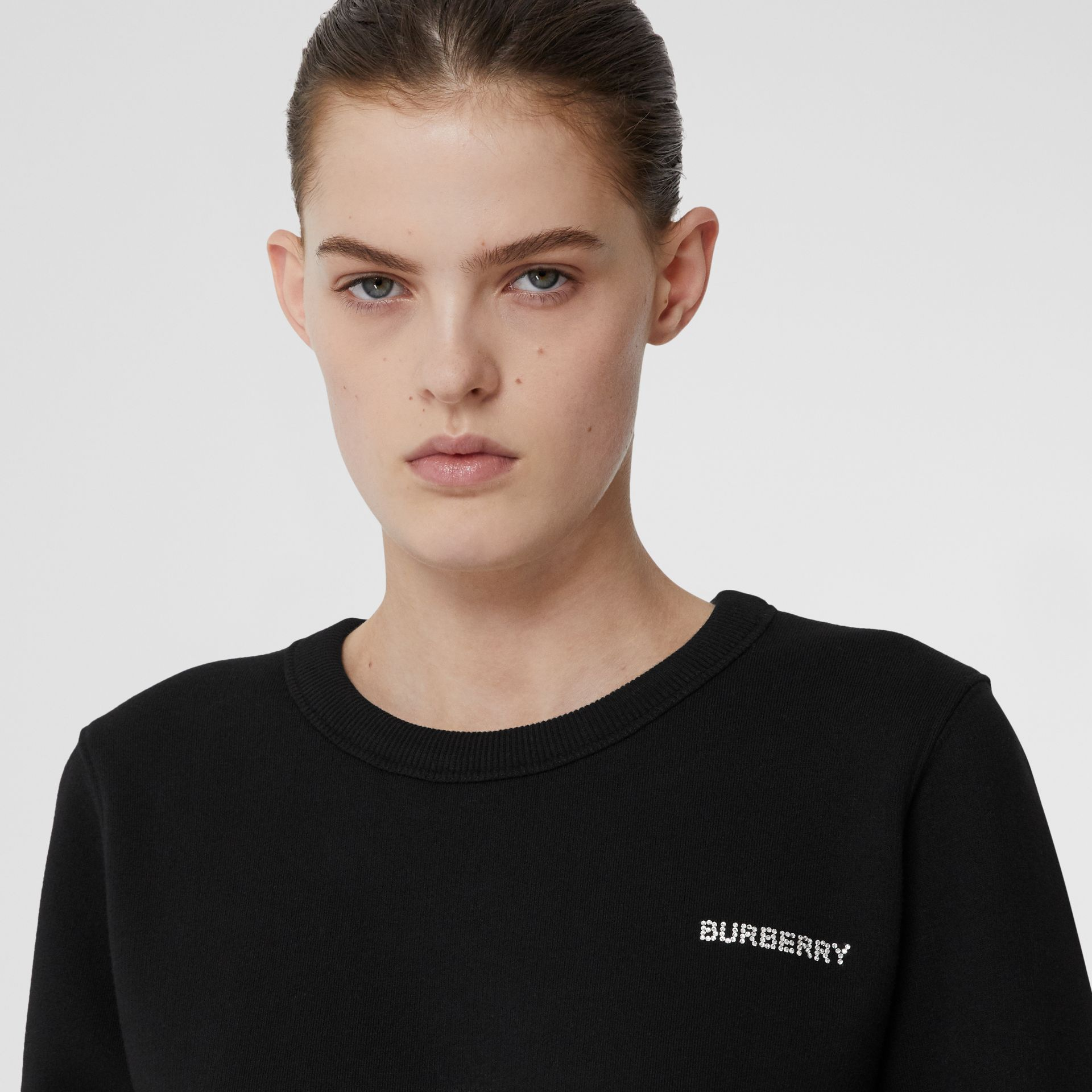 Crystal Monogram Motif Cotton Oversized Sweatshirt in Black - Women | Burberry - gallery image 1