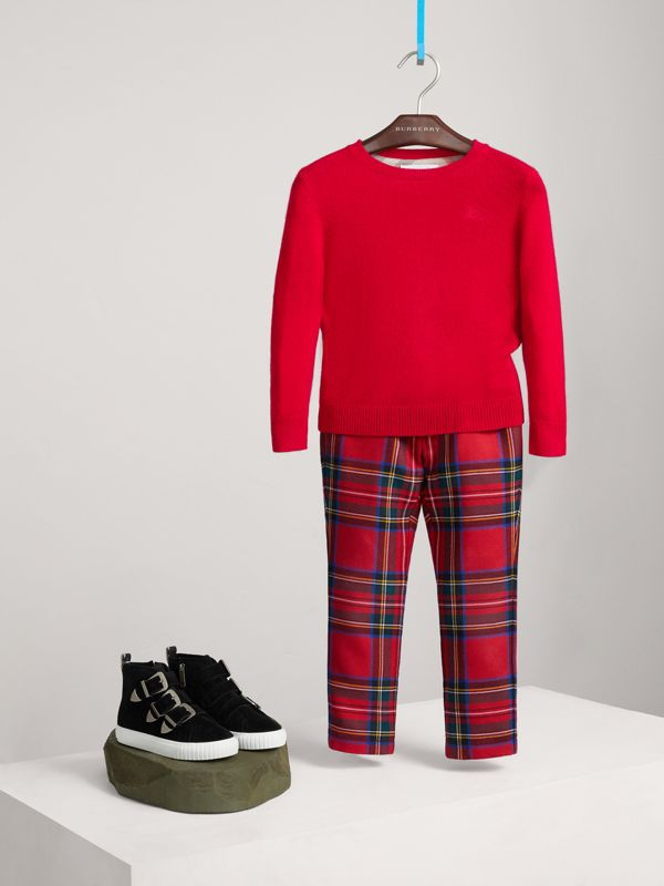 Check Elbow Patch Cashmere Sweater in Parade Red | Burberry - cell image 2