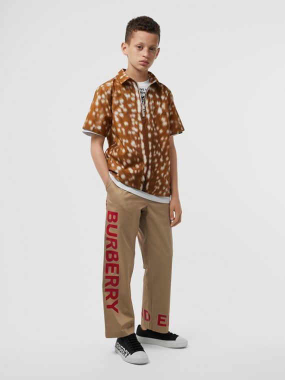 Horseferry Print Cotton Twill Trousers in Honey