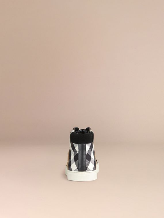 House Check and Leather High-top Trainers in Black - Men | Burberry - cell image 3