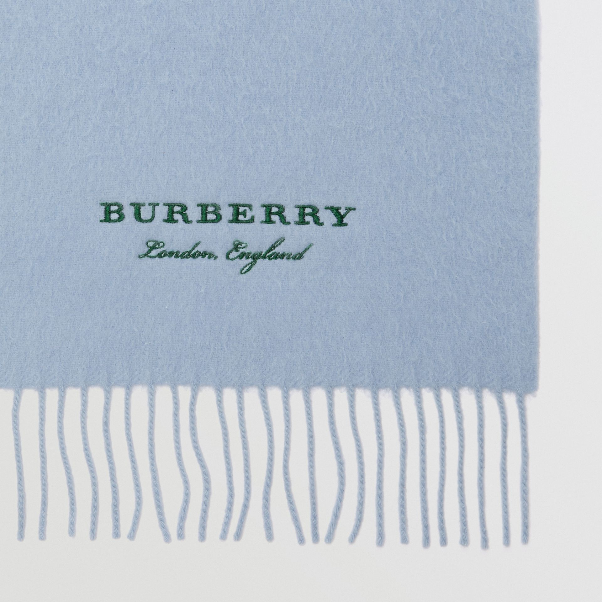 Embroidered Cashmere Fleece Scarf in Pale Powder Blue | Burberry Singapore - gallery image 1