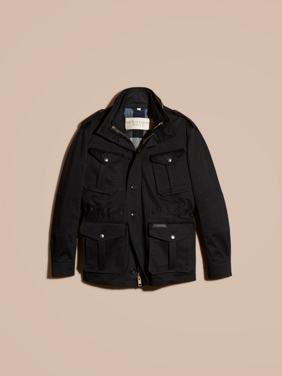 Black Bonded Cotton Field Jacket with Removable Warmer - cell image 3