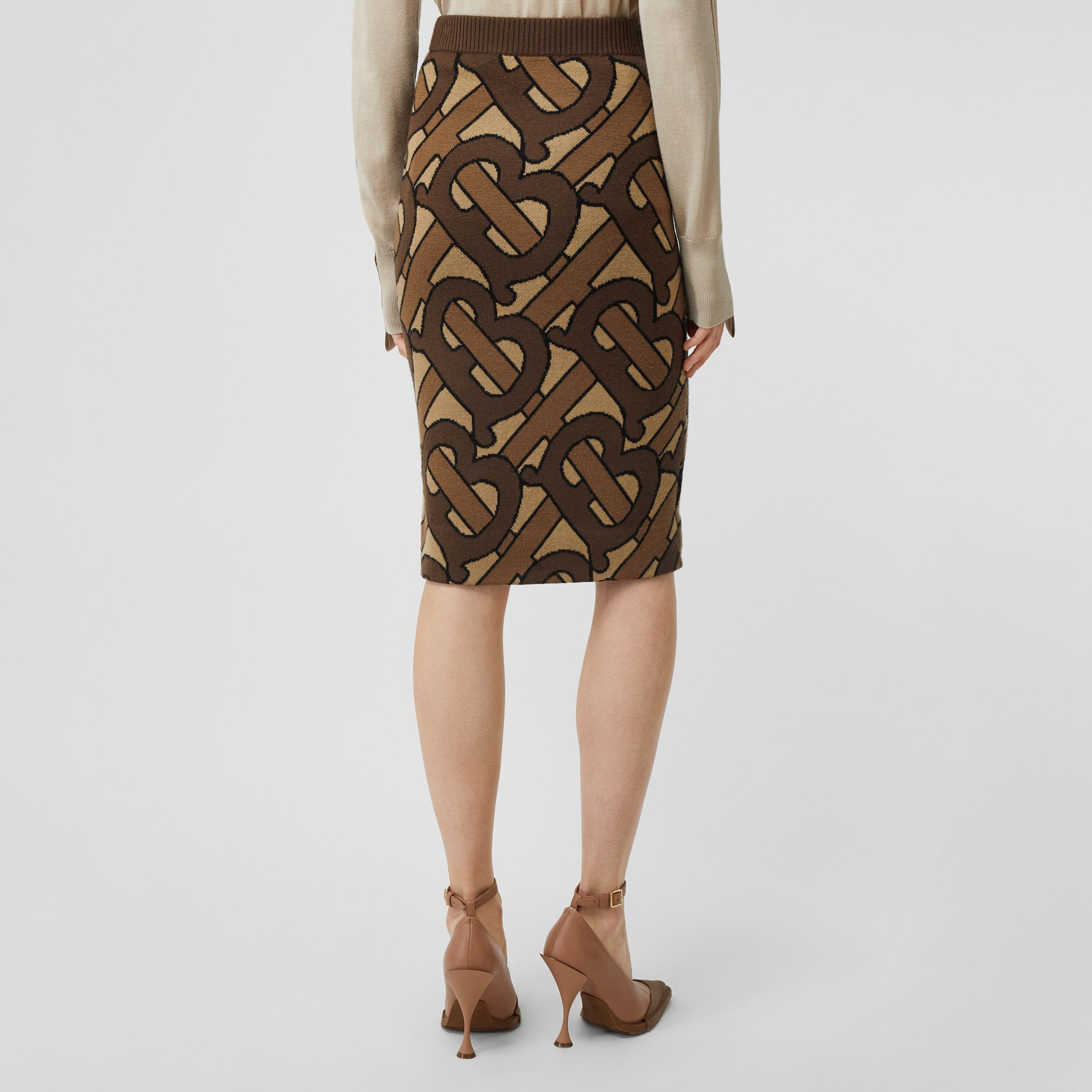 Monogram Intarsia Wool Pencil Skirt in Bridle Brown - Women | Burberry - 3