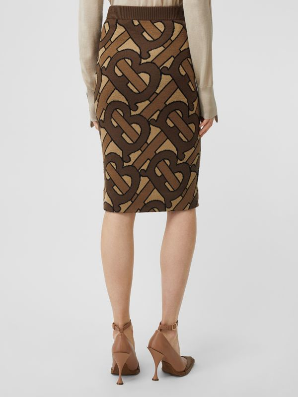 Monogram Intarsia Wool Pencil Skirt in Bridle Brown - Women | Burberry - cell image 2