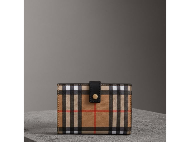 Vintage Check and Leather Folding Wallet in Black - Women | Burberry - cell image 4