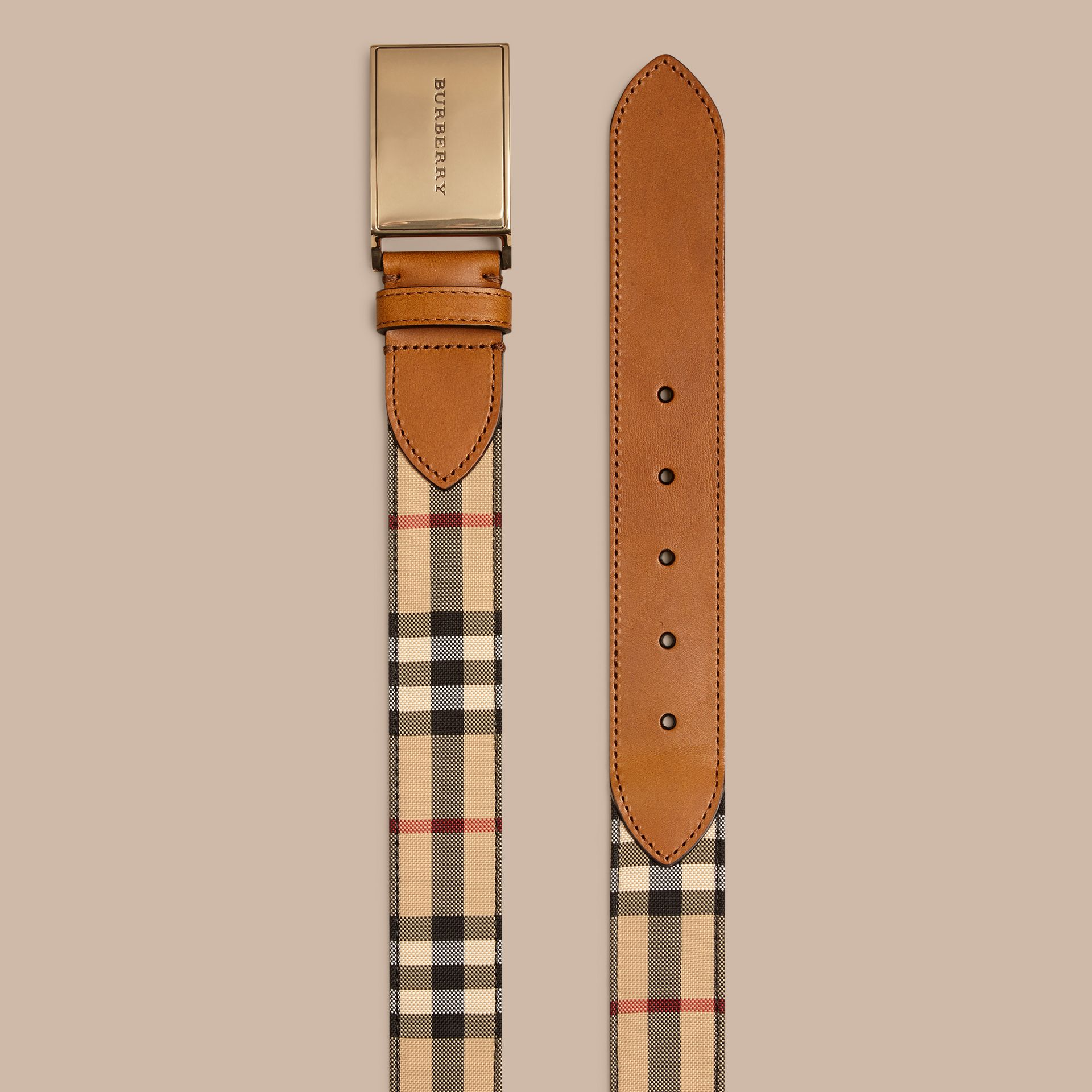 Tan Horseferry Check and Leather Belt - gallery image 3