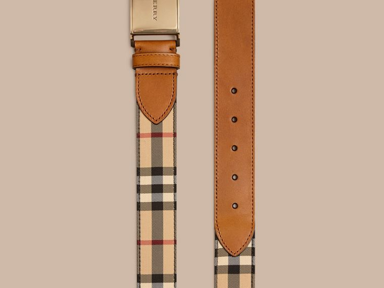 Tan Horseferry Check and Leather Belt - cell image 2
