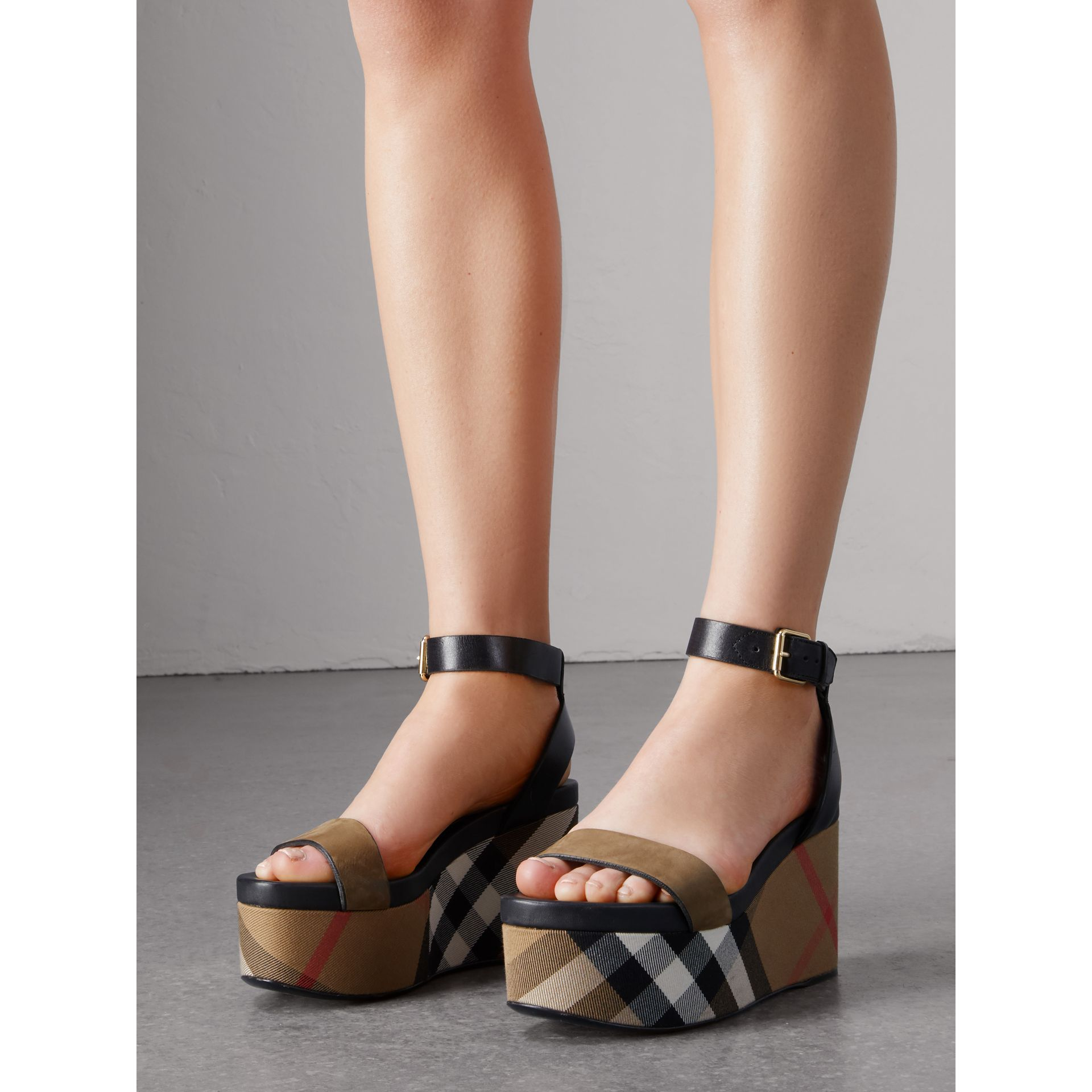 House Check and Leather Wedge Sandals in Dark Heather Melange - Women | Burberry - gallery image 4