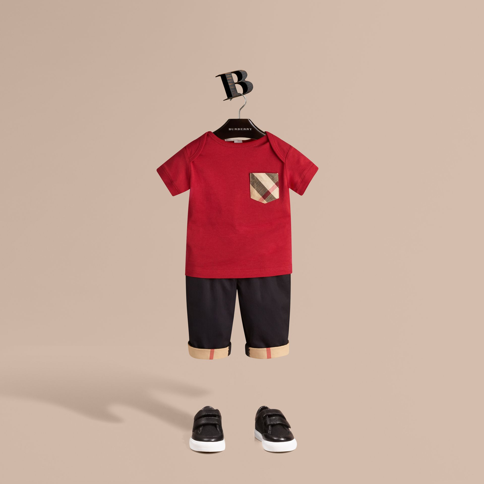 Check Pocket T-shirt in Military Red - Boy | Burberry Canada - gallery image 1