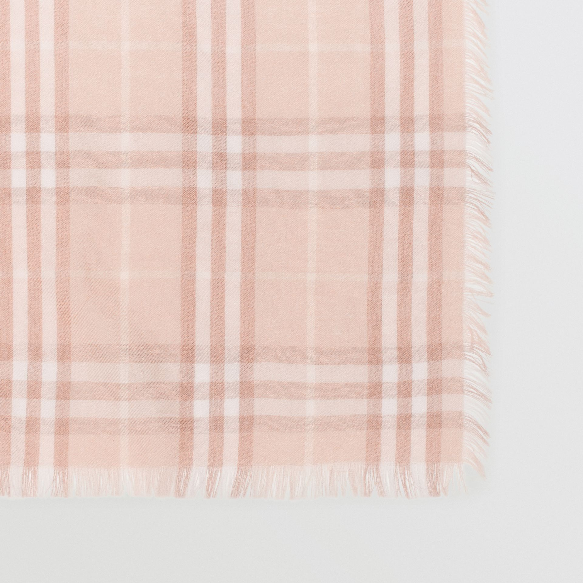 Embroidered Vintage Check Lightweight Cashmere Scarf in Soft Peach | Burberry - gallery image 1