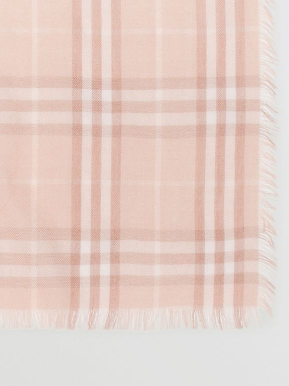 Embroidered Vintage Check Lightweight Cashmere Scarf in Soft Peach | Burberry Australia - cell image 1