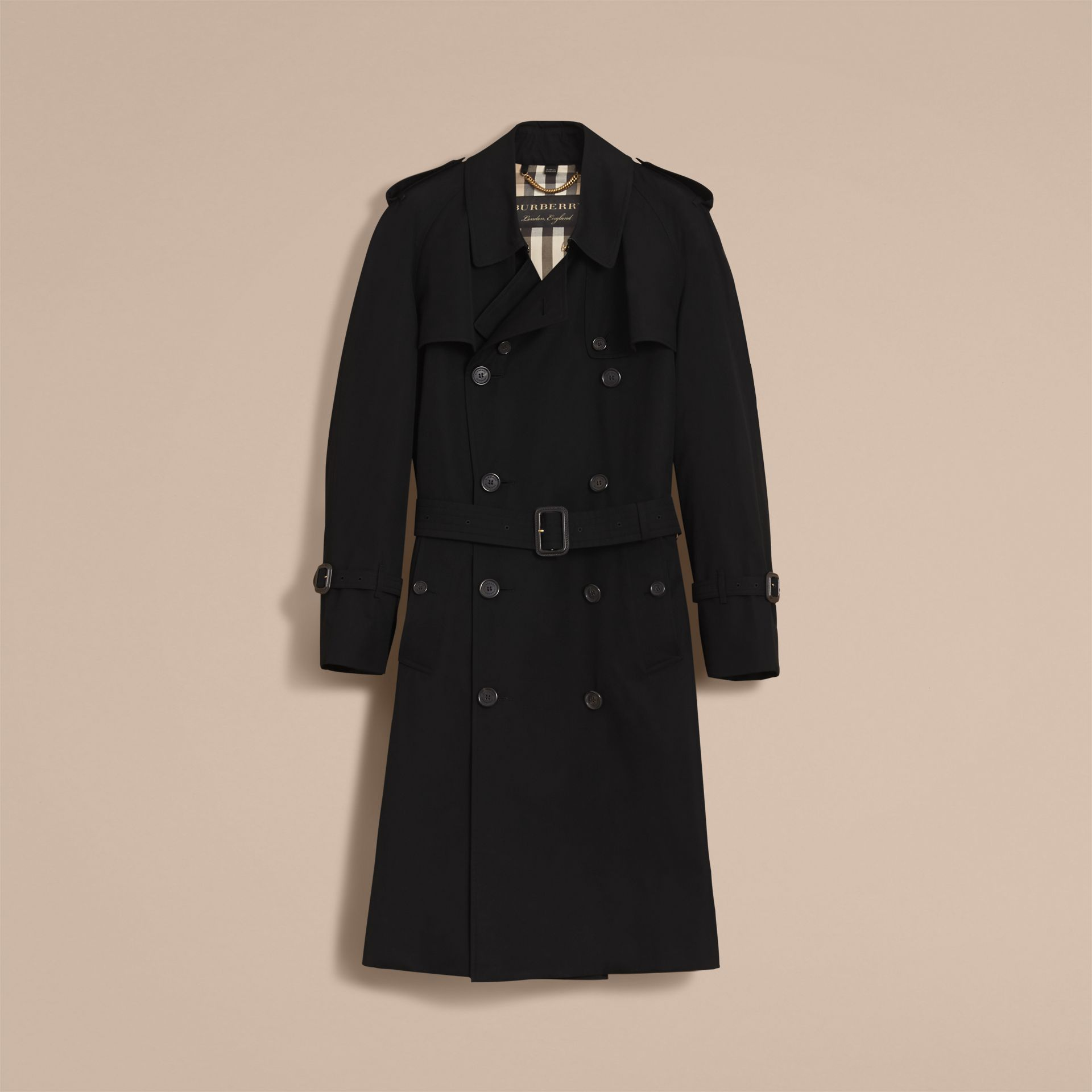 Cotton Gabardine Sculptural Trench Coat in Black - Men | Burberry - gallery image 4