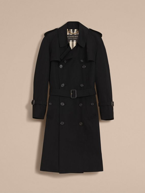 Cotton Gabardine Sculptural Trench Coat in Black - Men | Burberry - cell image 3