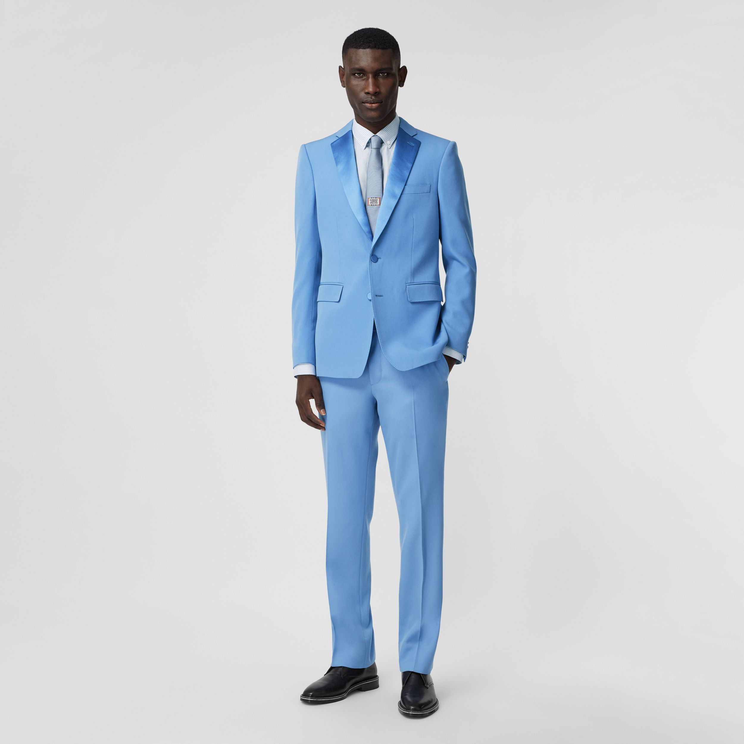 Classic Fit Wool Tailored Trousers in Vivid Cobalt - Men | Burberry - 1