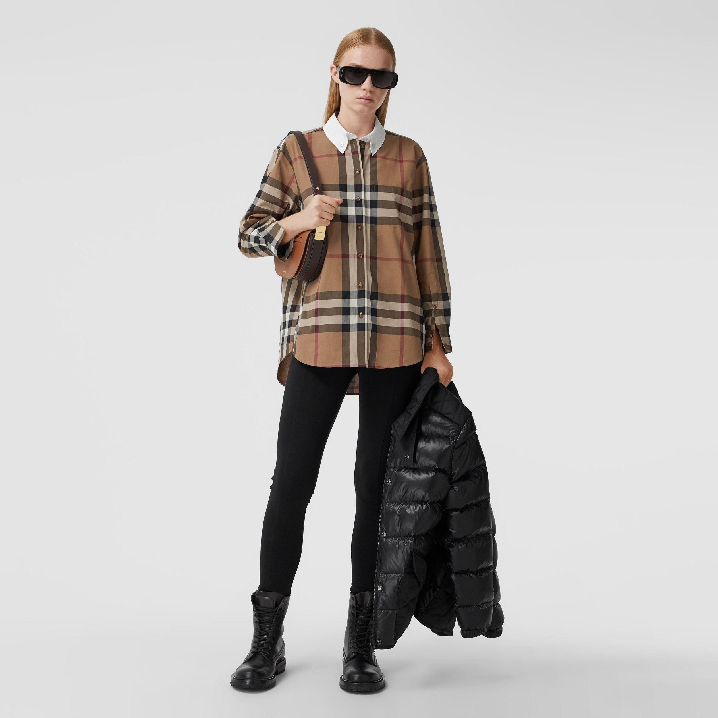 Check Cotton Poplin Oversized Shirt in Birch Brown - Women | Burberry - 1