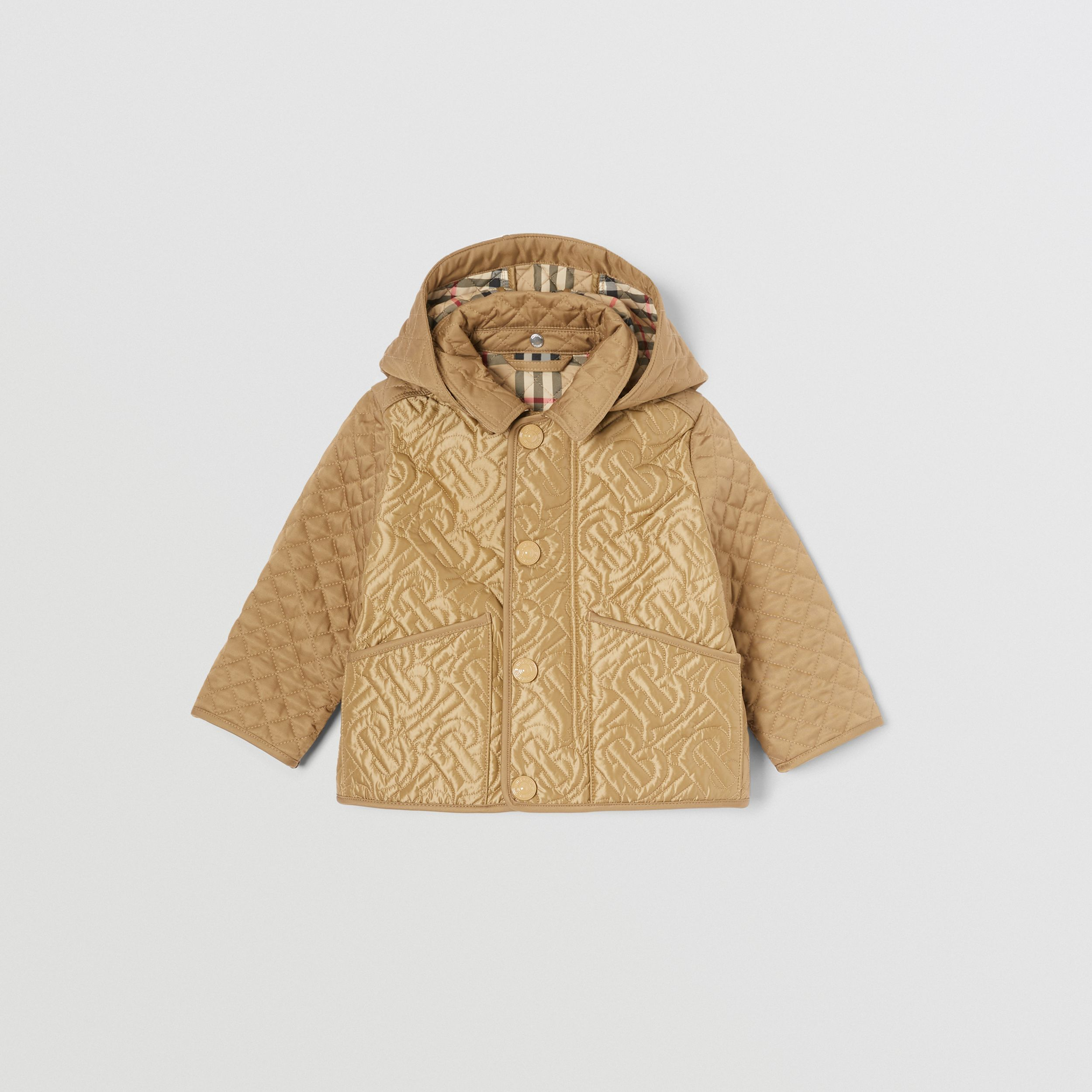 Detachable Hood Monogram Quilted Jacket in Honey - Children | Burberry - 1