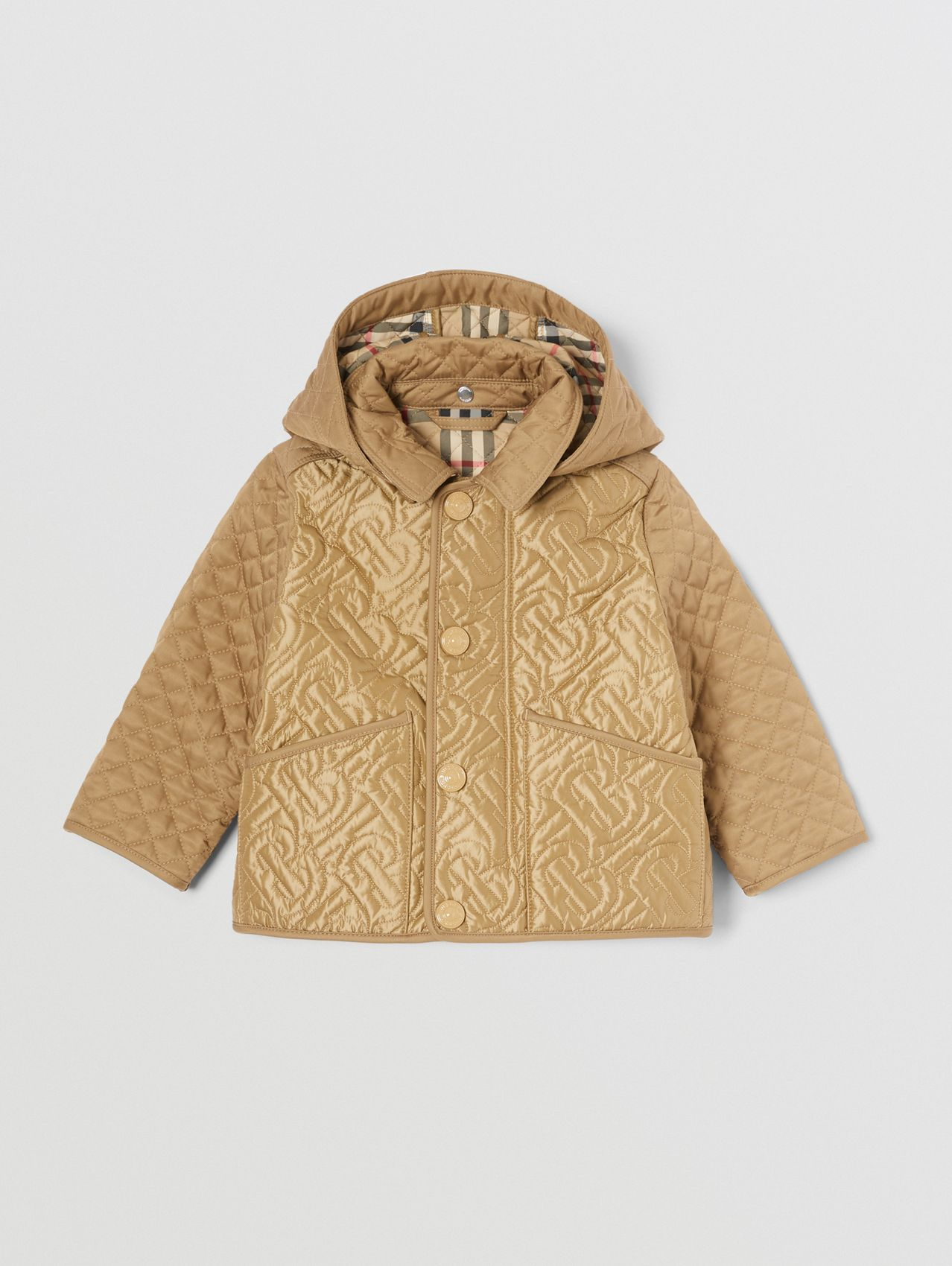 Detachable Hood Monogram Quilted Jacket in Honey