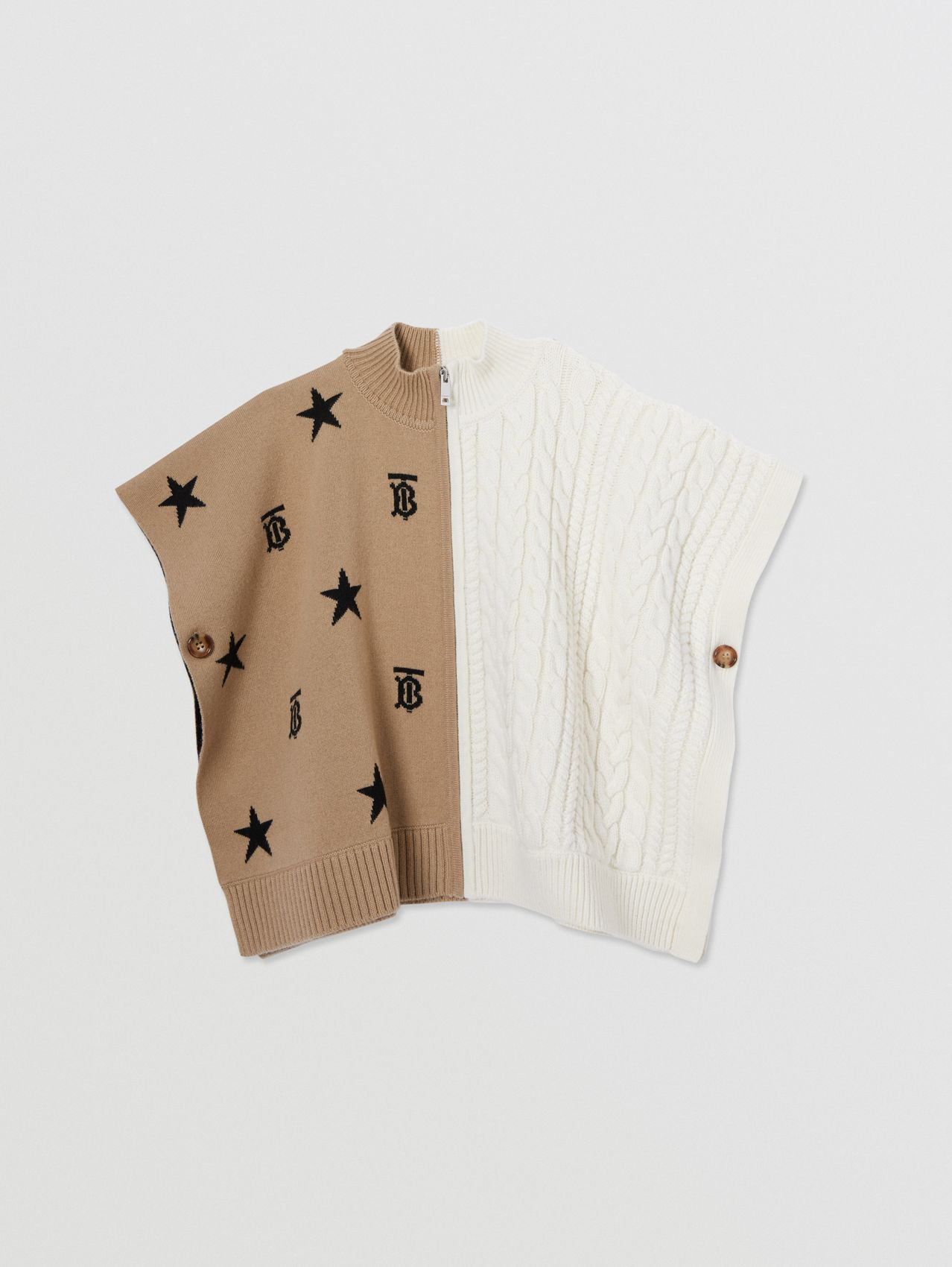 Star and Monogram Motif Wool Cashmere Poncho in Archive Beige