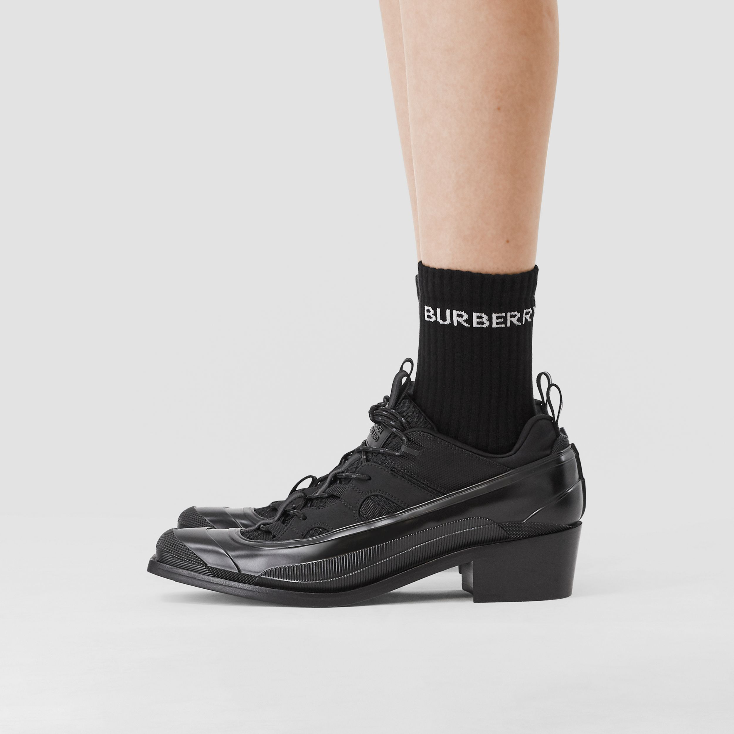 Logo Intarsia Technical Stretch Cotton Socks in Black | Burberry Australia - 3