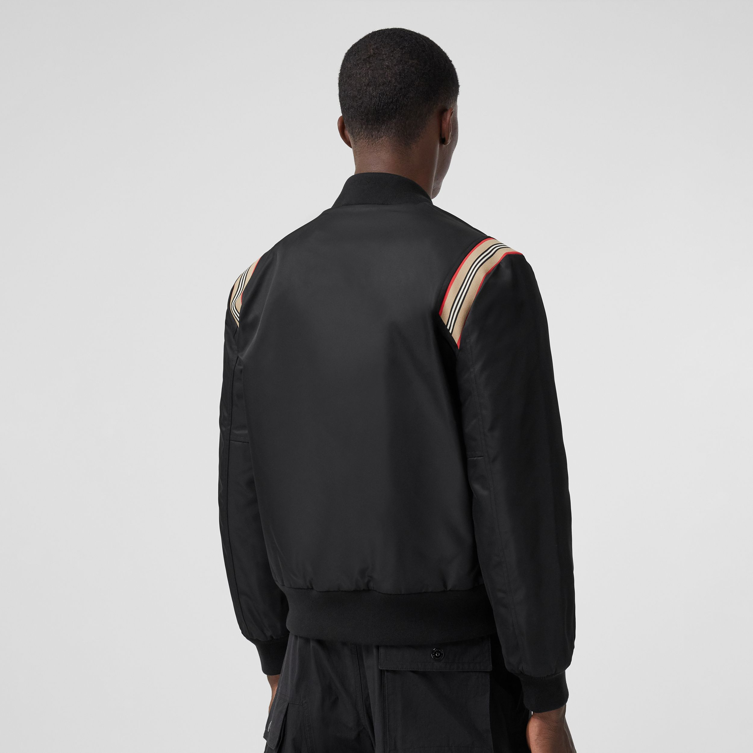 Icon Stripe Trim Bomber Jacket in Black - Men | Burberry - 3