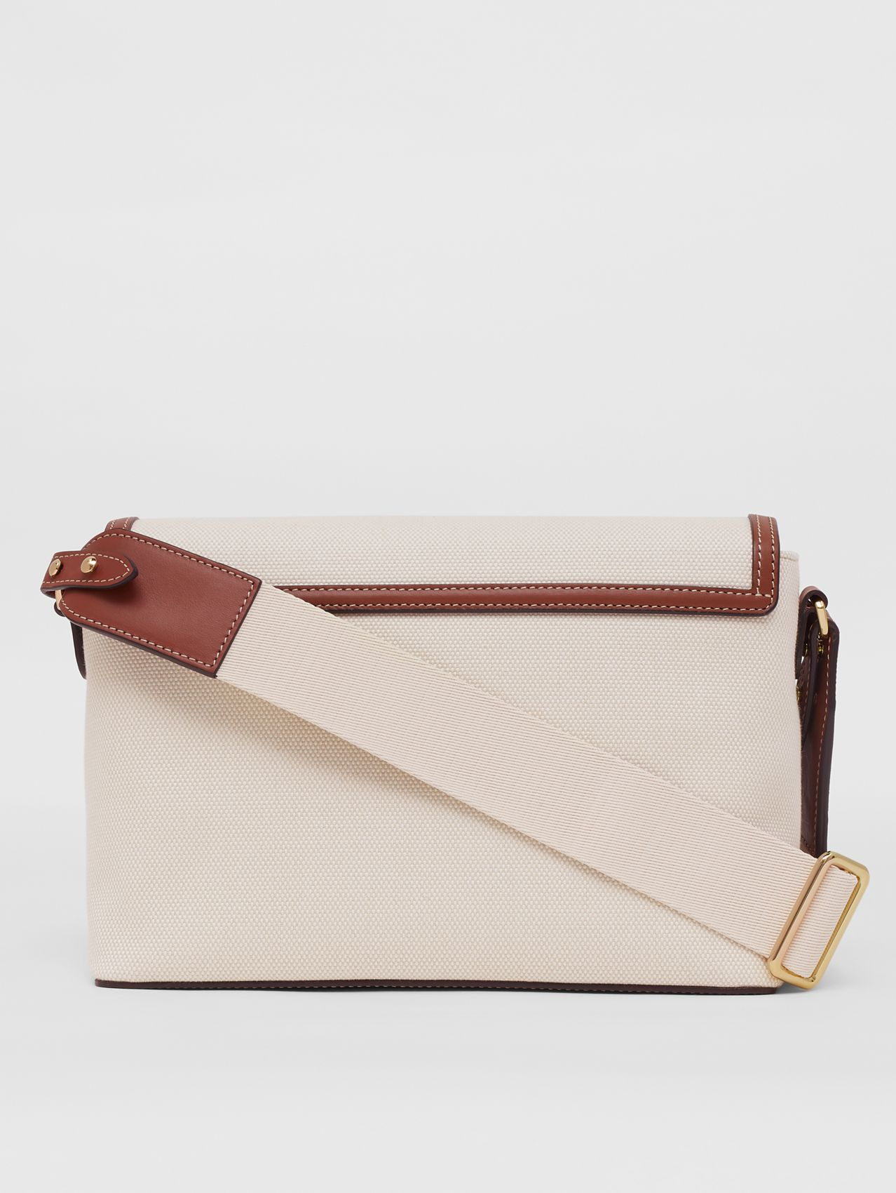 Horseferry Print Canvas Note Crossbody Bag in Natural/tan